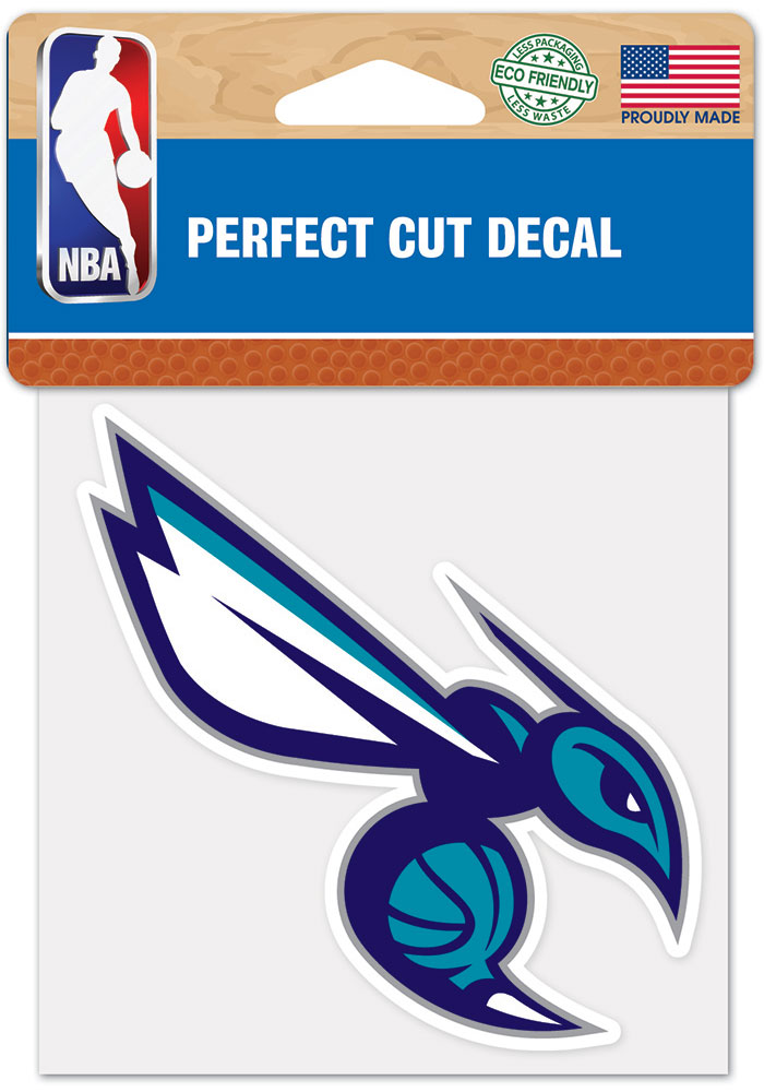 Charlotte Hornets 4x4 inch Auto Decal - Blue - Image 1