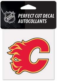 Calgary Flames 4x4 inch Auto Decal - Red