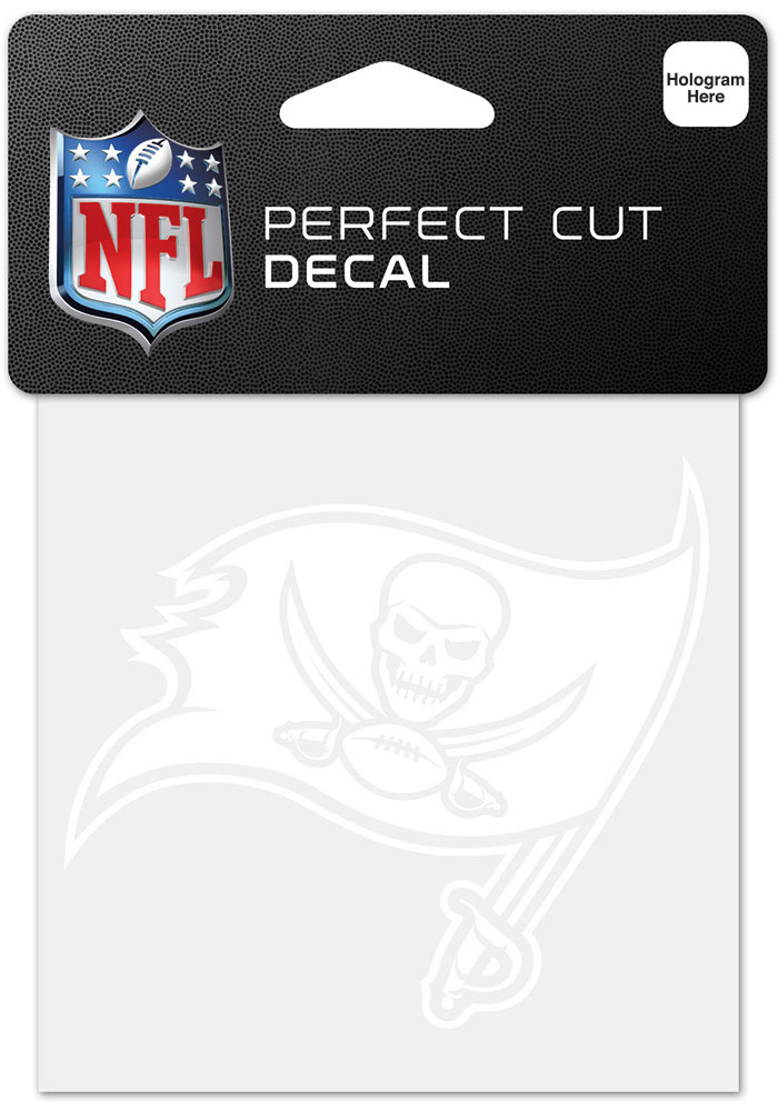 Tampa Bay Buccaneers White 4x4 Inch Auto Decal - White