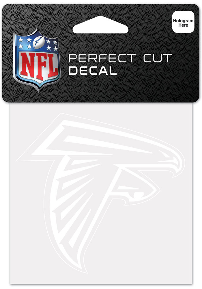 Atlanta Falcons White 4x4 Inch Auto Decal - White