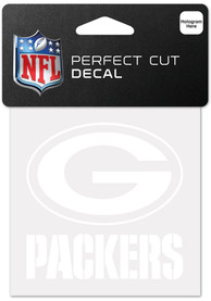 Green Bay Packers White 4x4 Inch Auto Decal - White