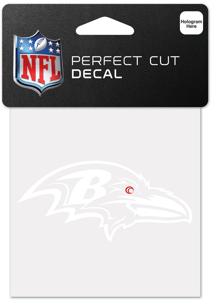 Baltimore Ravens White 4x4 Inch Auto Decal - White