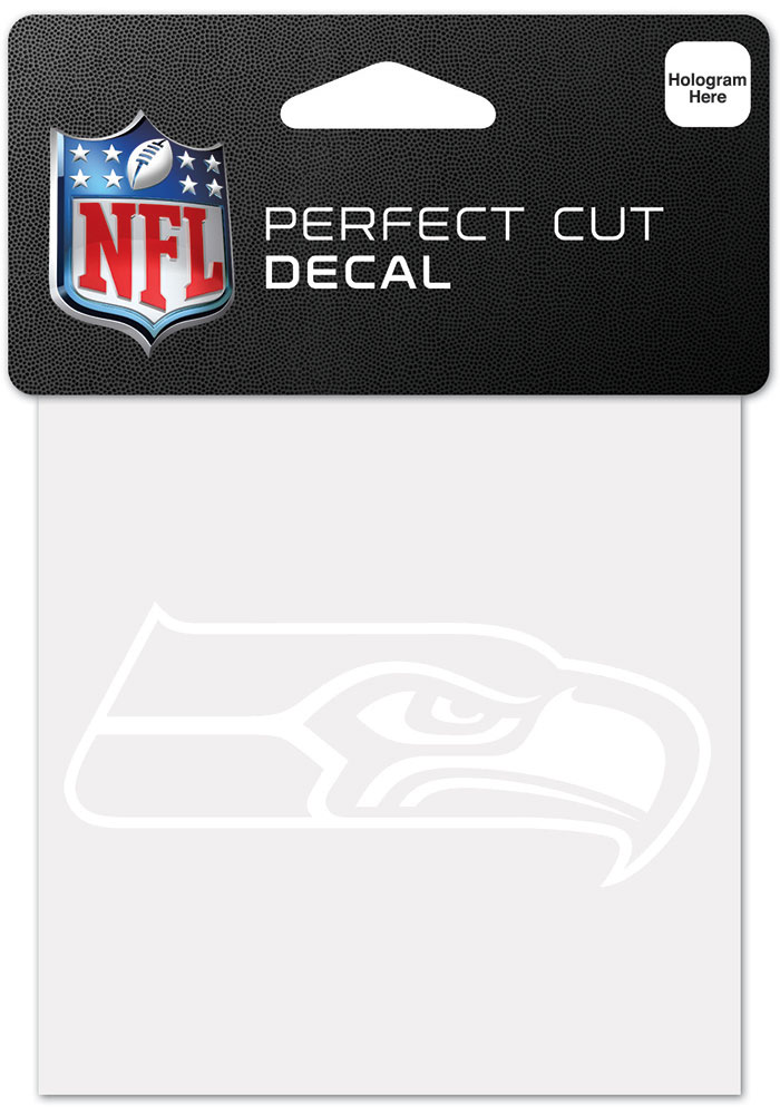 Seattle Seahawks White 4x4 Inch Auto Decal - White - Image 1