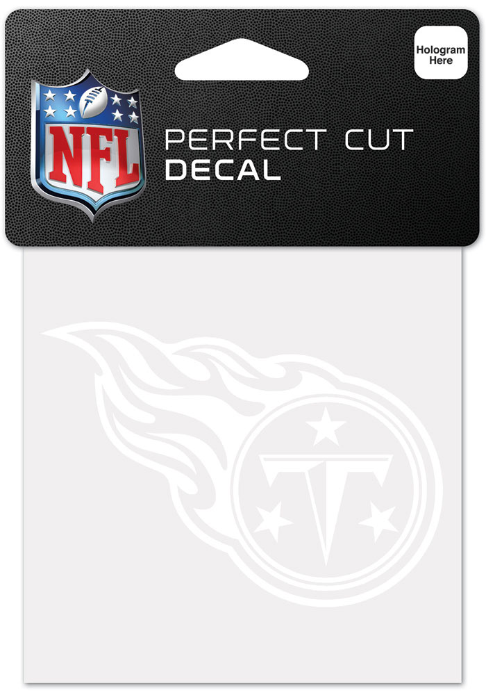 Tennessee Titans White 4x4 Inch Auto Decal - White - Image 1