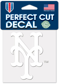 New York Mets White 4x4 Inch Auto Decal - White