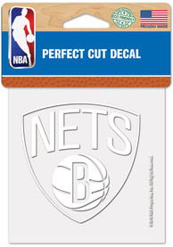 Brooklyn Nets White 4x4 Inch Auto Decal - White