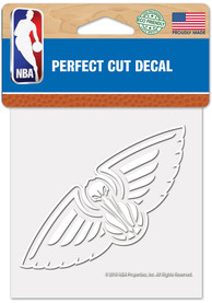 New Orleans Pelicans White 4x4 Inch Auto Decal - White