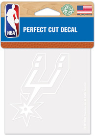 San Antonio Spurs White 4x4 Inch Auto Decal - White