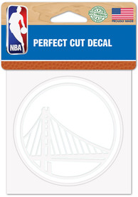 Golden State Warriors White 4x4 Inch Auto Decal - White
