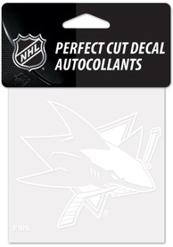 San Jose Sharks White 4x4 Inch Auto Decal - White