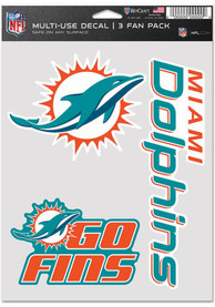 Miami Dolphins Triple Pack Auto Decal - Green
