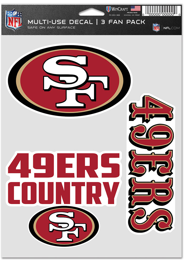 San Francisco 49ers Triple Pack Auto Decal - Red - Image 1