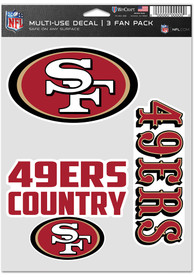 San Francisco 49ers Triple Pack Auto Decal - Red