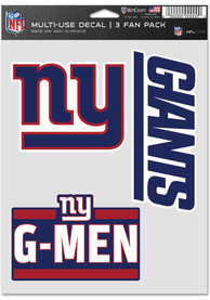 New York Giants Triple Pack Auto Decal - Blue