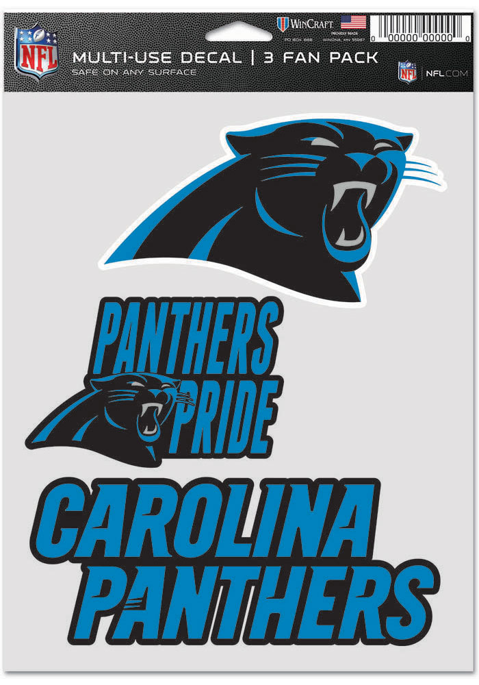 Carolina Panthers Triple Pack Auto Decal - Black