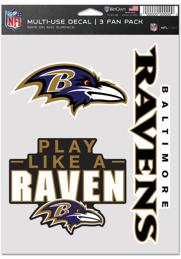 Baltimore Ravens Triple Pack Auto Decal - Black