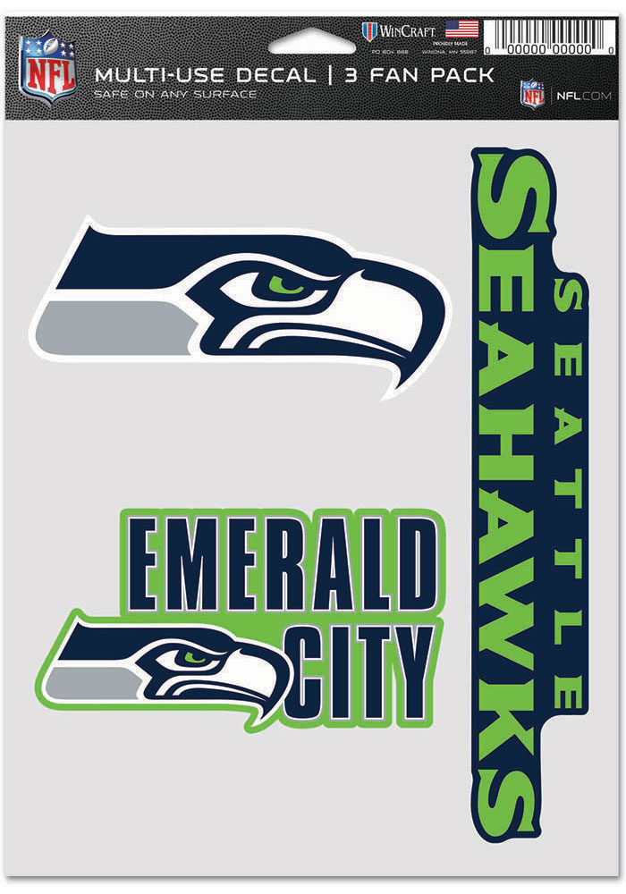 Seattle Seahawks Triple Pack Auto Decal - Blue - Image 1