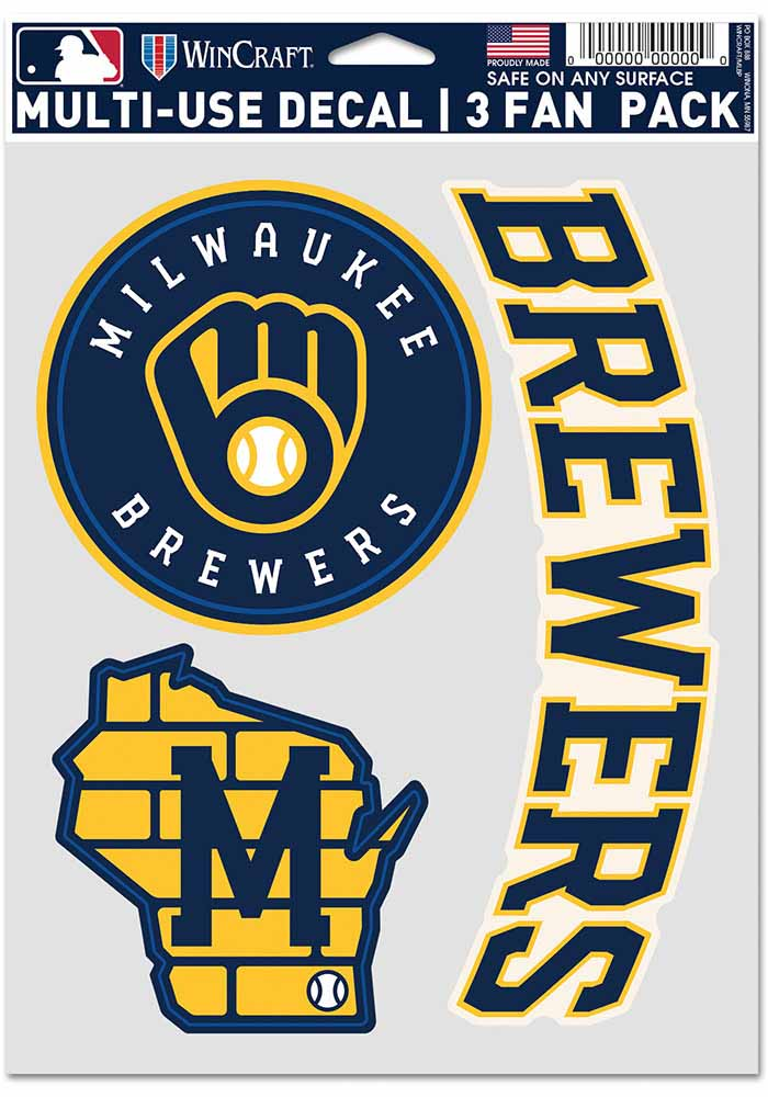 Milwaukee Brewers Triple Pack Auto Decal - Blue