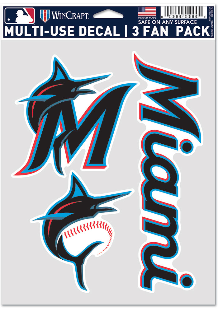 Miami Marlins Triple Pack Auto Decal - Blue