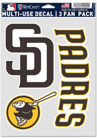 San Diego Padres Triple Pack Auto Decal - Blue