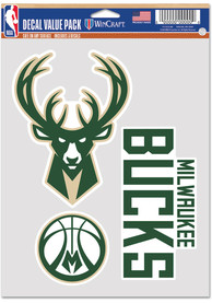 Milwaukee Bucks Triple Pack Auto Decal - Green