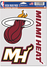 Miami Heat Triple Pack Auto Decal - Red