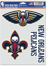 New Orleans Pelicans Triple Pack Auto Decal - Blue