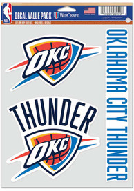 Oklahoma City Thunder Triple Pack Auto Decal - Blue
