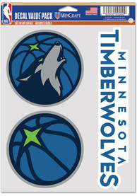 Minnesota Timberwolves Triple Pack Auto Decal - Blue