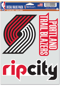 Portland Trail Blazers Triple Pack Auto Decal - Red