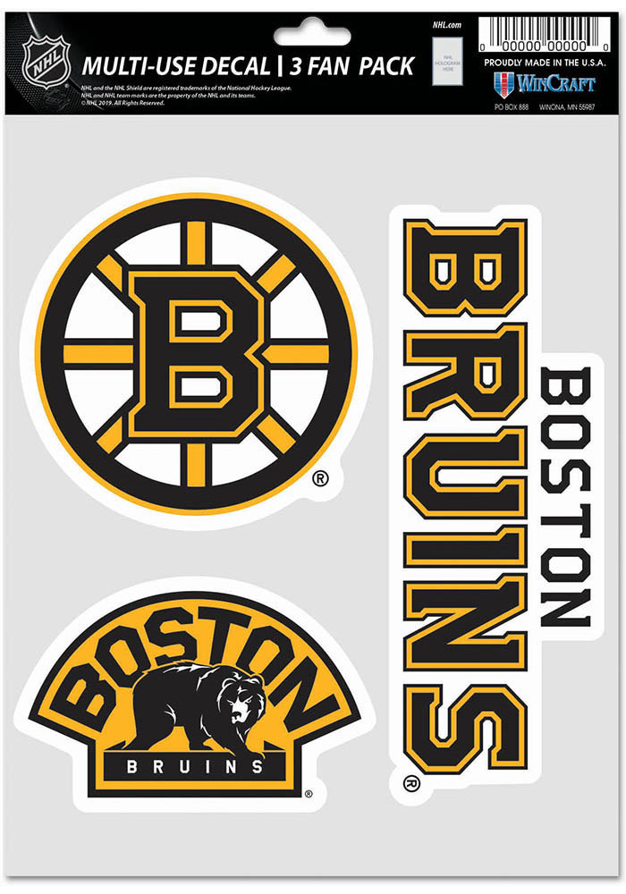 Boston Bruins Triple Pack Auto Decal - Black - Image 1