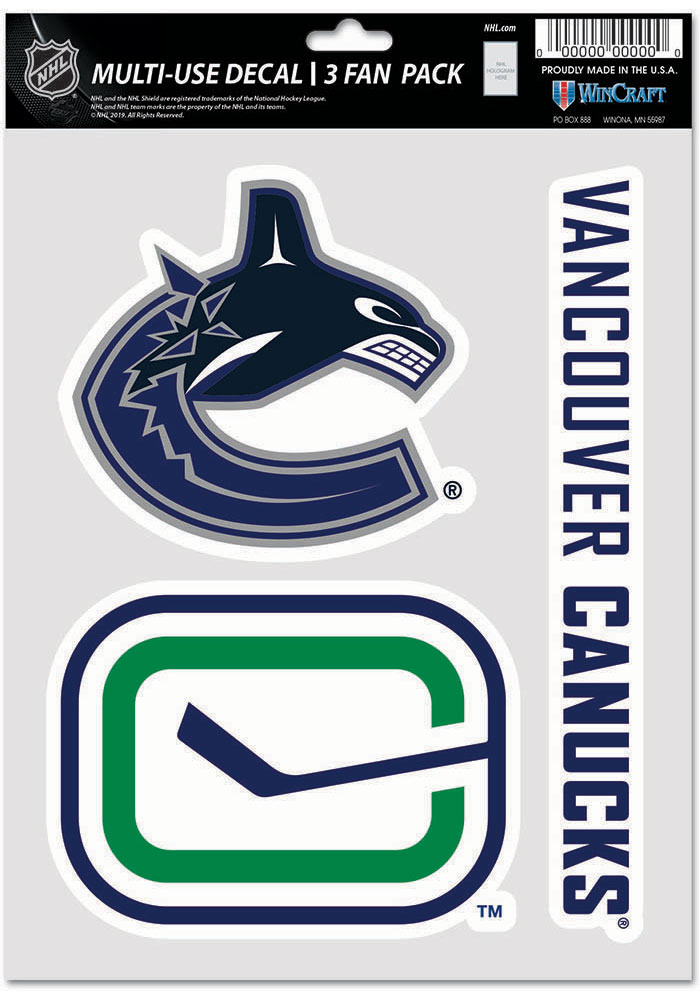 Vancouver Canucks Triple Pack Auto Decal - Green