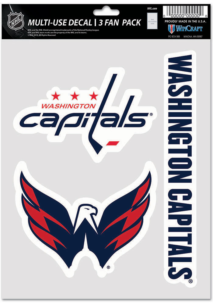 Washington Capitals Triple Pack Auto Decal - Red