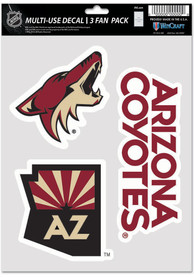 Arizona Coyotes Triple Pack Auto Decal - Red