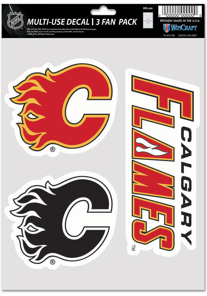 Calgary Flames Triple Pack Auto Decal - Red