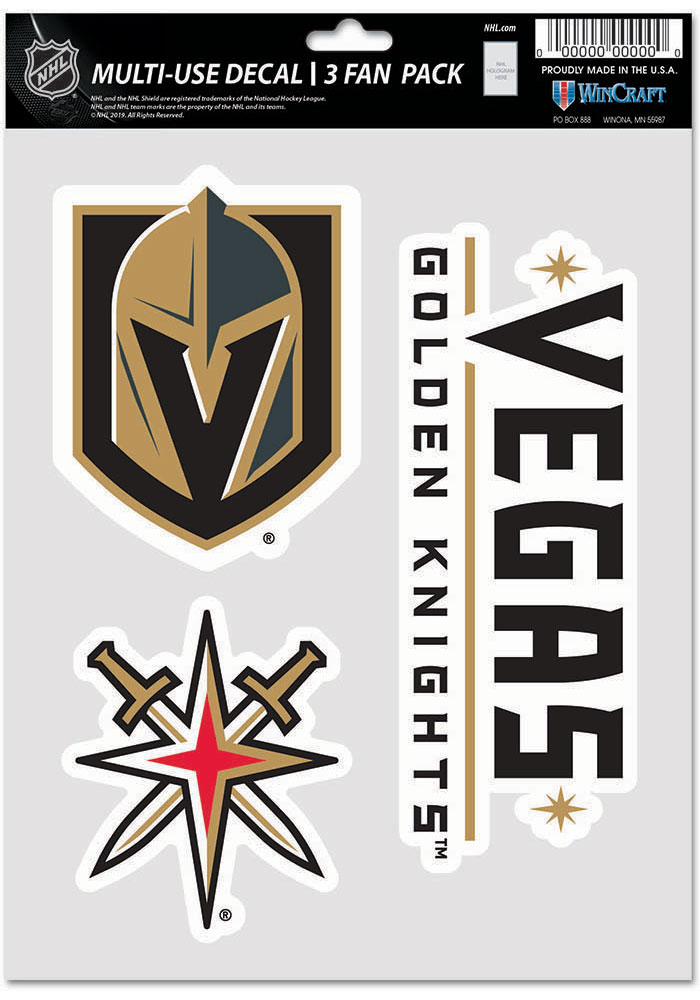 Vegas Golden Knights Triple Pack Auto Decal - Grey