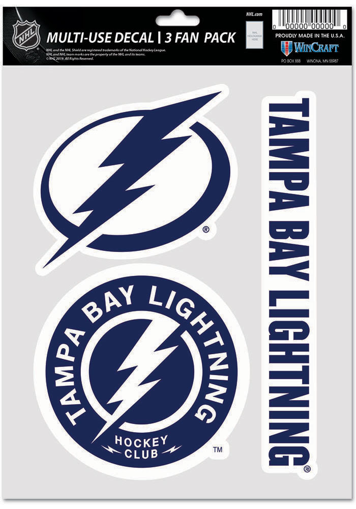 Tampa Bay Lightning Triple Pack Auto Decal - Blue