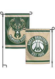 Milwaukee Bucks 2 Sided Team Logo Garden Flag