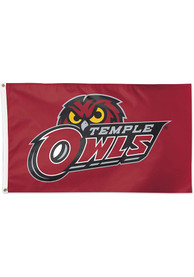 Temple Owls 3x5 ft Red Silk Screen Grommet Flag