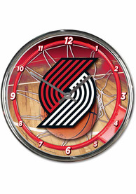 Portland Trail Blazers Chrome Wall Clock