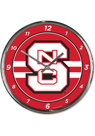 NC State Wolfpack Chrome Wall Clock