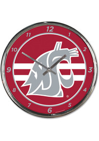 Washington State Cougars Chrome Wall Clock