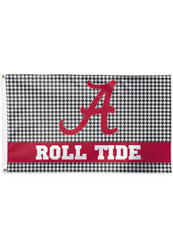 Alabama Crimson Tide 3x5 Houndstooth Black Silk Screen Grommet Flag