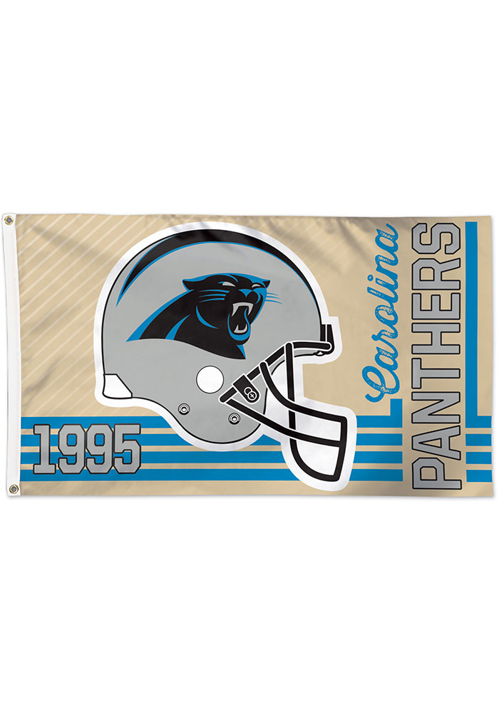 Carolina Panthers 3x5 Retro Black Silk Screen Grommet Flag - Image 1