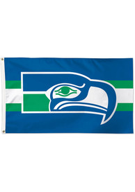 Seattle Seahawks 3x5 Retro Blue Silk Screen Grommet Flag