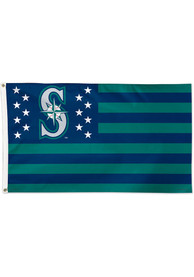 Seattle Mariners 3x5 Star Stripes Navy Blue Silk Screen Grommet Flag