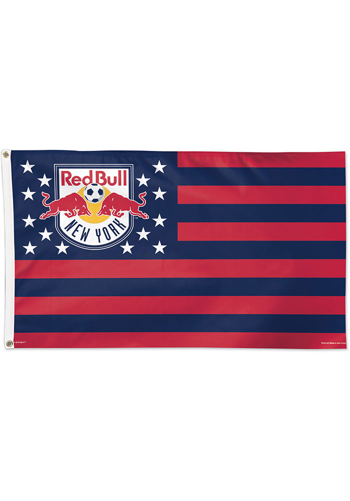 New York Red Bulls 3x5 Star Stripes Red Silk Screen Grommet Flag - Image 1