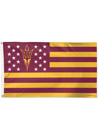 Arizona State Sun Devils 3x5 Star Stripes Maroon Silk Screen Grommet Flag