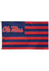 Ole Miss Rebels 3x5 Star Stripes Red Silk Screen Grommet Flag