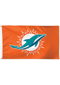 Miami Dolphins 3x5 Orange Orange Silk Screen Grommet Flag